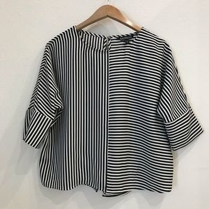 Express Black and White Striped Top XS